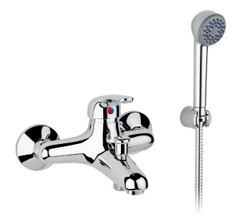 3416 - Single lever bath mixer with flexible hose and adjustable hand shower