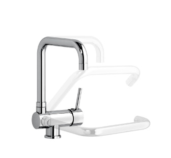 7802 - Single lever sink mixer with double jet shower and flexible pipe