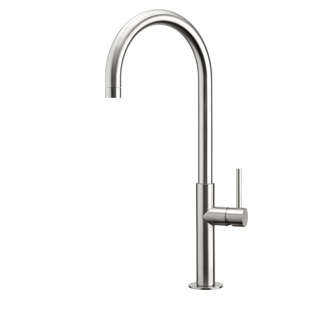 9001 - AISI 316 Stainless steel single lever sink mixer with high spout and flexible pipes