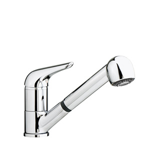 7317 - Single lever sink mixer with double jet removable shower and flexible pipes